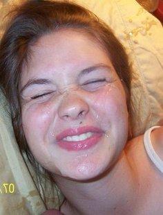 Подборка молодых чувих со спермой на лице и теле