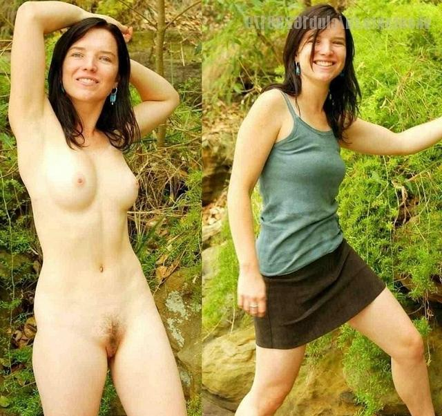 Сравнение голых женщин и в одежде 7 фото