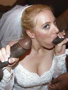 Невеста отсасывает длинный член неграм по очереди