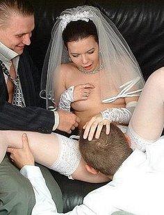 Невеста трахнулась перед свадьбой с двумя парнями
