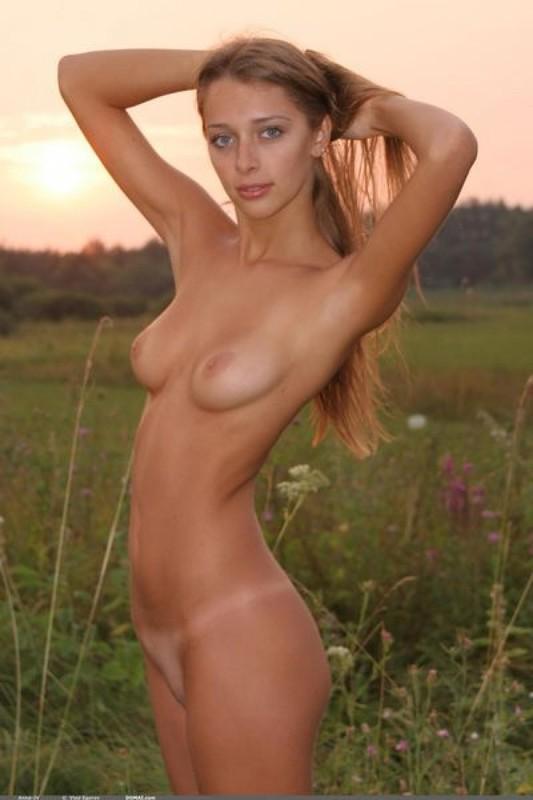 Голенькая нимфоманка позирует на закате в поле 5 фото